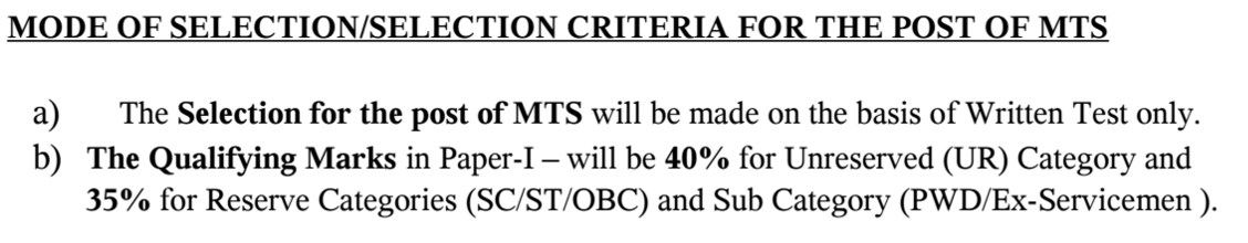 ESIC MTS Cut Off Marks 2016
